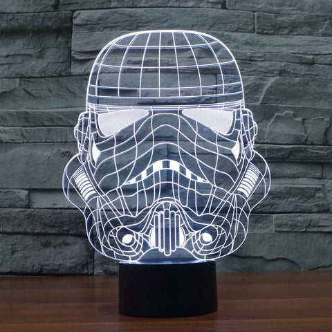 Star Wars Inspired Storm Trooper Helmet 3D Optical Illusion Lamp - 3D Optical Lamp