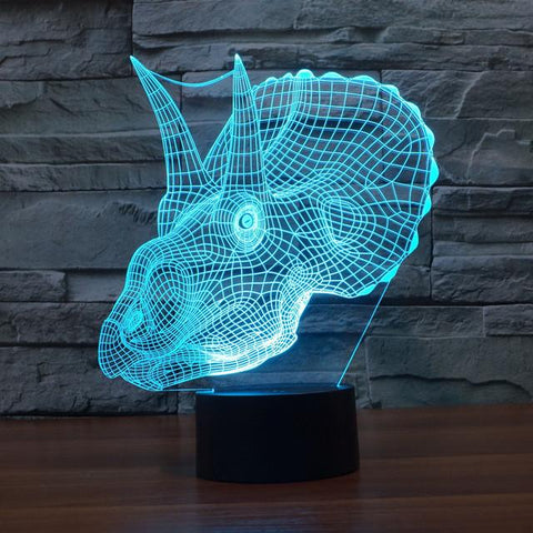 UBIKORT Realistic Triceratops Dinosaur 3D Optical Illusion Lamp - 3D Optical Lamp