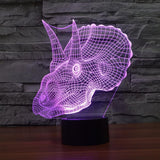 Realistic Triceratops Dinosaur 3D Optical Illusion Lamp - 3D Optical Lamp