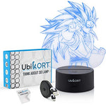 UBIKORT 3D Lamp Illusion Super Saiyan Goku Night Light GREAT Gift Present for KIDS and Adults - Office & Bedroom Decor for Dragon Ball Z Fans [UPGRADE]