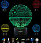 UBIKORT 3D Lamp Illusion Death Star Wars Lamp, Unique Birthday Star Wars Gifts for Men, Perfect Star Wars Decor Night Lights for Kids, Ideal Gift for Star Wars Fans, 7 Colors Change