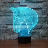 Elegant Stallion Bust 3D Optical Illusion Lamp - 3D Optical Lamp