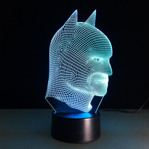 Comics Inspired Realistic Batman Bust 3D Optical Illusion Lamp - 3D Optical Lamp