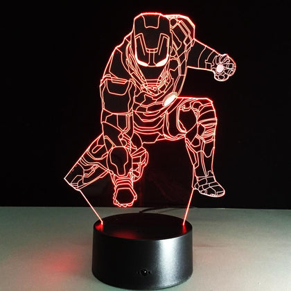 UBIKORT  Inspired Squating Iron Man 3D Optical Illusion Lamp - 3D Optical Lamp