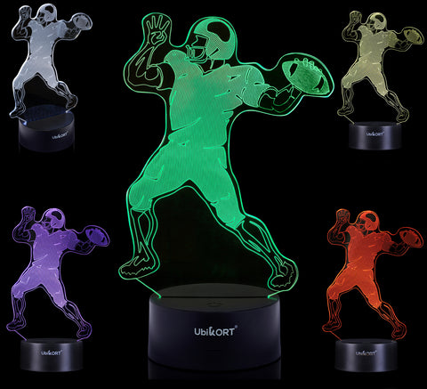 UBIKORT Football Player 3D Night Lamp for Boys Girls and Adult Great Birthday Present for Sport Fans, Ideal for Night Light Bedroom Desk Decor – Perfect Gift Idea