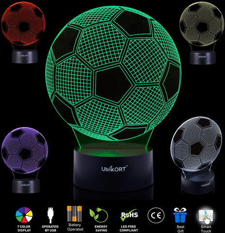 UBIKORT 3D Soccer Lamp, Soccer Gifts for Boys and Girls, Soccer Goal LED Night Light Perfect Birthday Gift, Sports Lamp Decor, Helps Kids Sleep Better with a Glow Light, 8 Modes Color