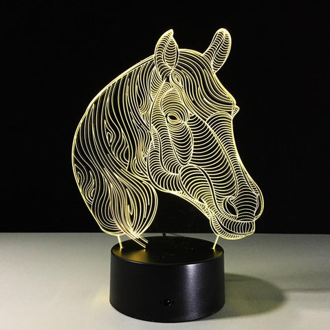 UBIKORT Elegant Horse Head 3D Optical Illusion Lamp - 3D Optical Lamp