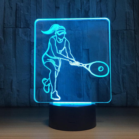 UBIKORT Play Tennis 3D Optical Illusion Lamp - 3D Optical Lamp