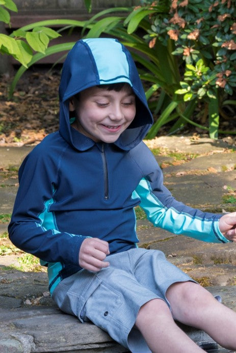 Deep Sea with Lagoon Panel - Kids Swim Shirt / Rash Guard with a Hood