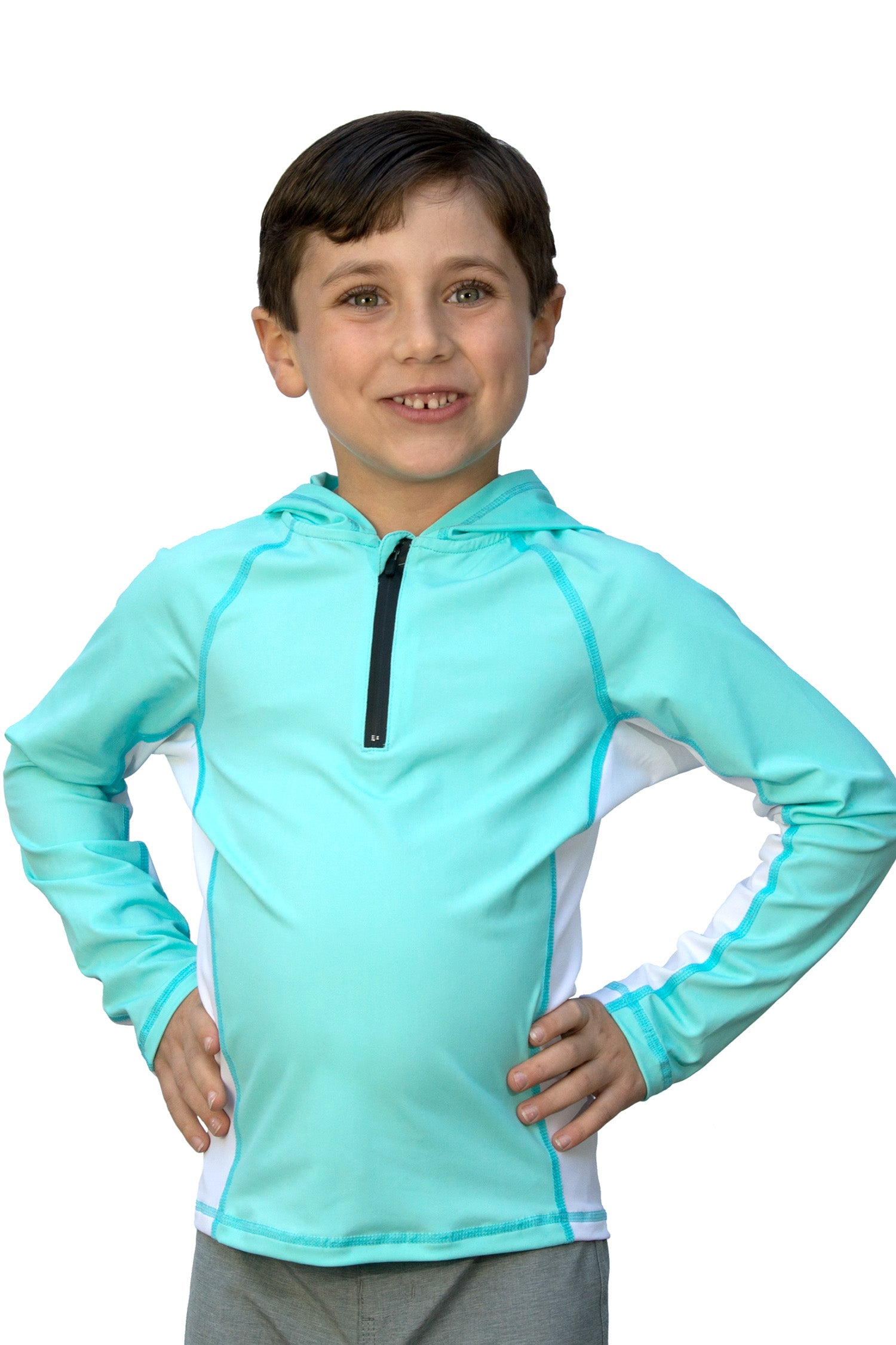 Lagoon with Salt Panel - Kids Swim Shirt / Rash Guard with a Hood