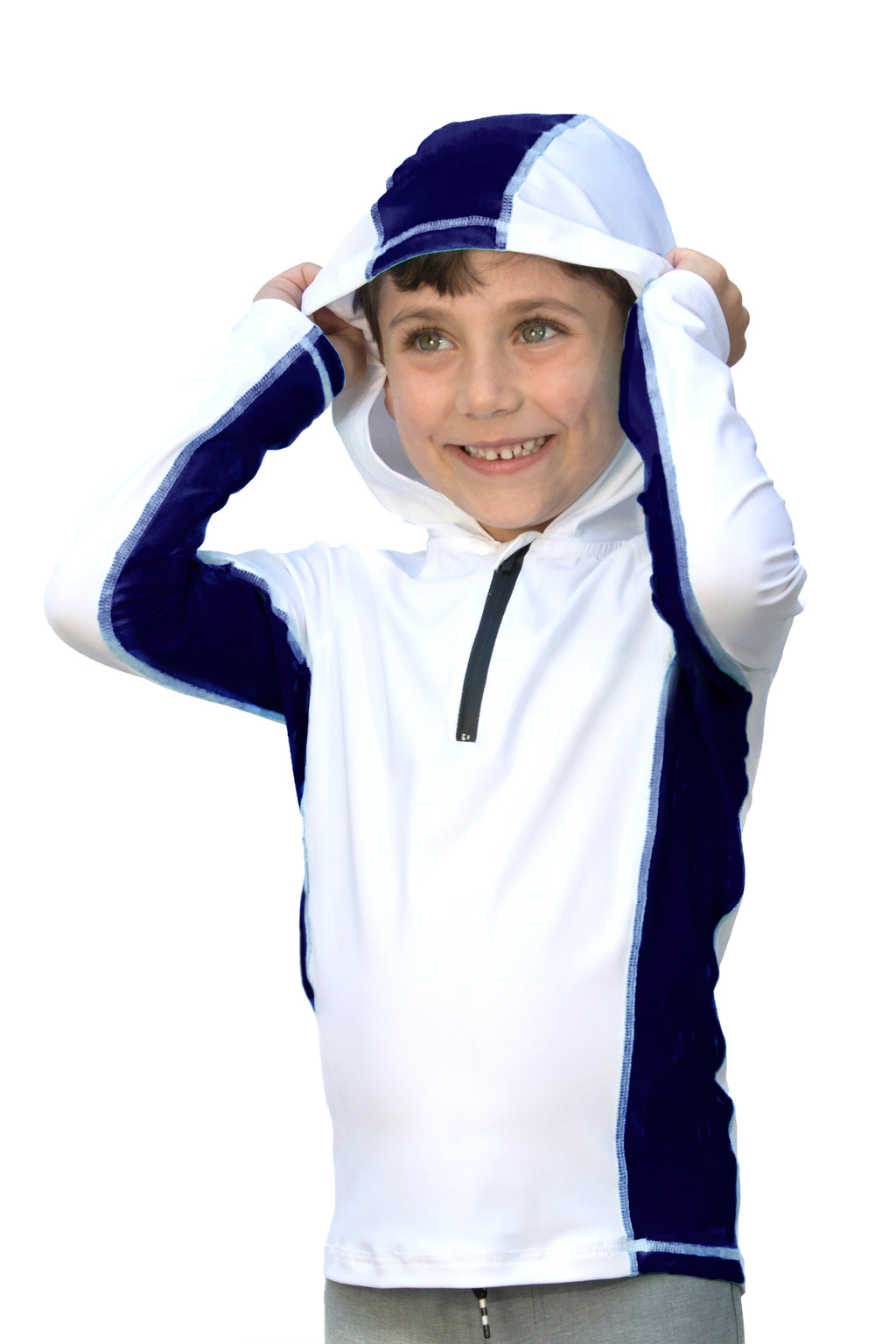 Salt with Deep Sea Panel - Kids Swim Shirt / Rash Guard with a Hood