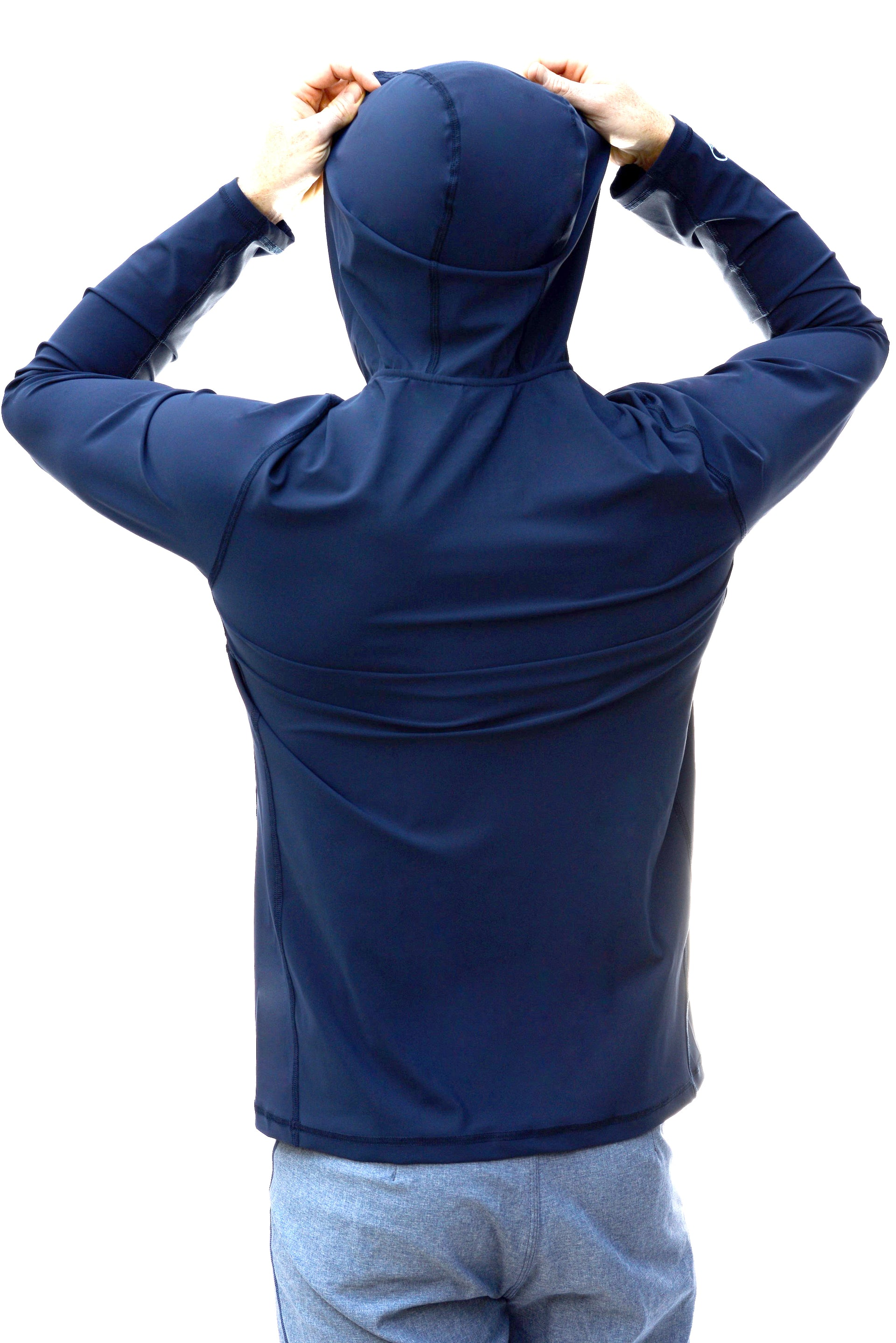 Solid Deep Sea - Mens Swim Shirt / Rash Guard with a Hood