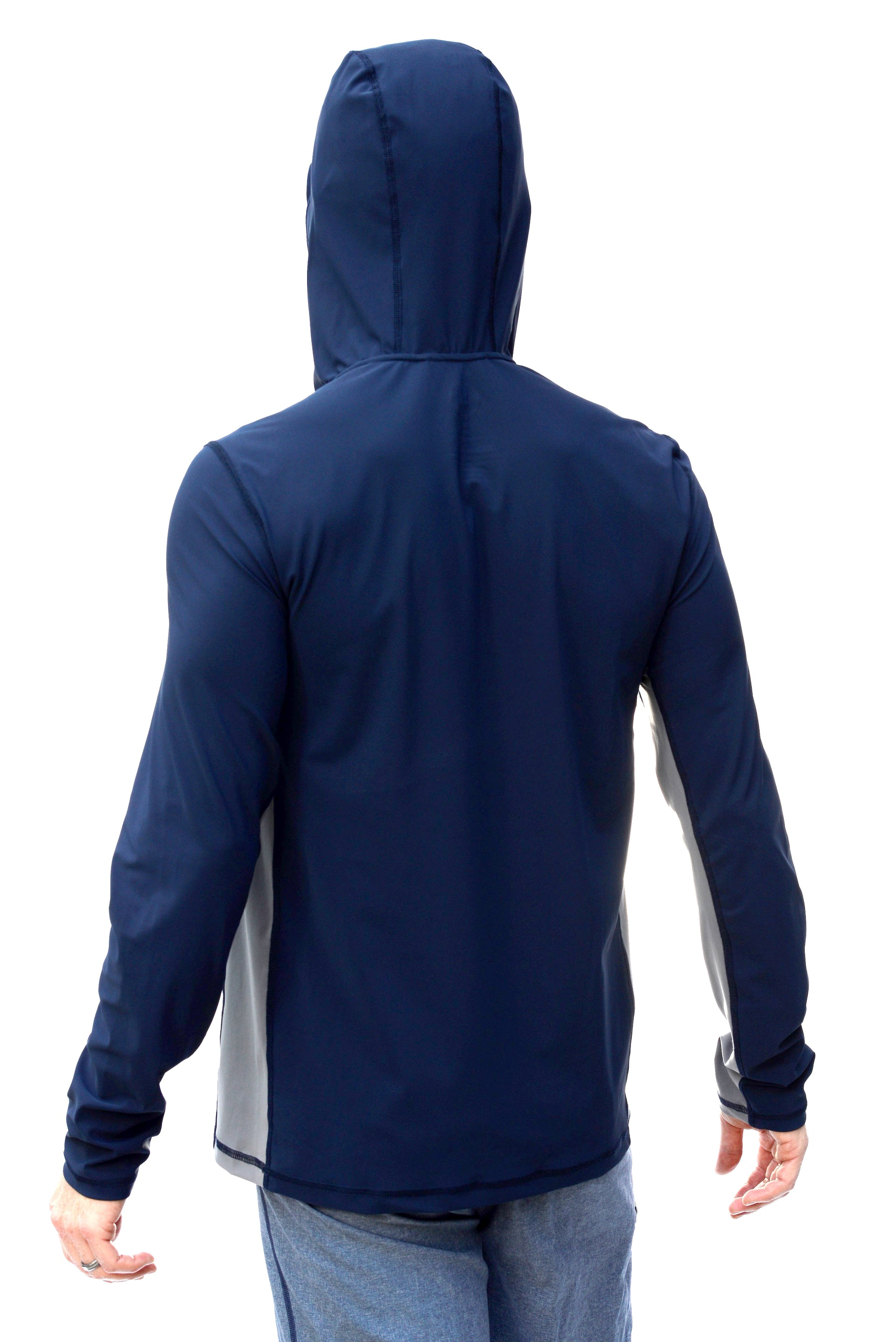 Deep Sea with Moon Rock Panel - Mens Swim Shirt / Rash Guard with a Hood