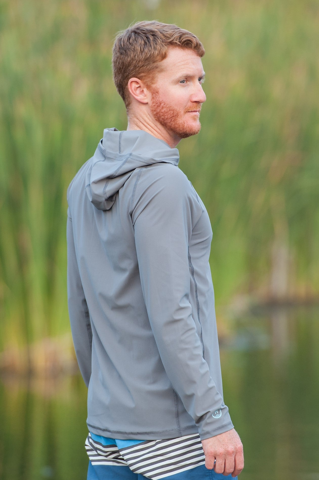 Solid Moon Rock Grey - Mens Swim Shirt / Rash Guard with a Hood