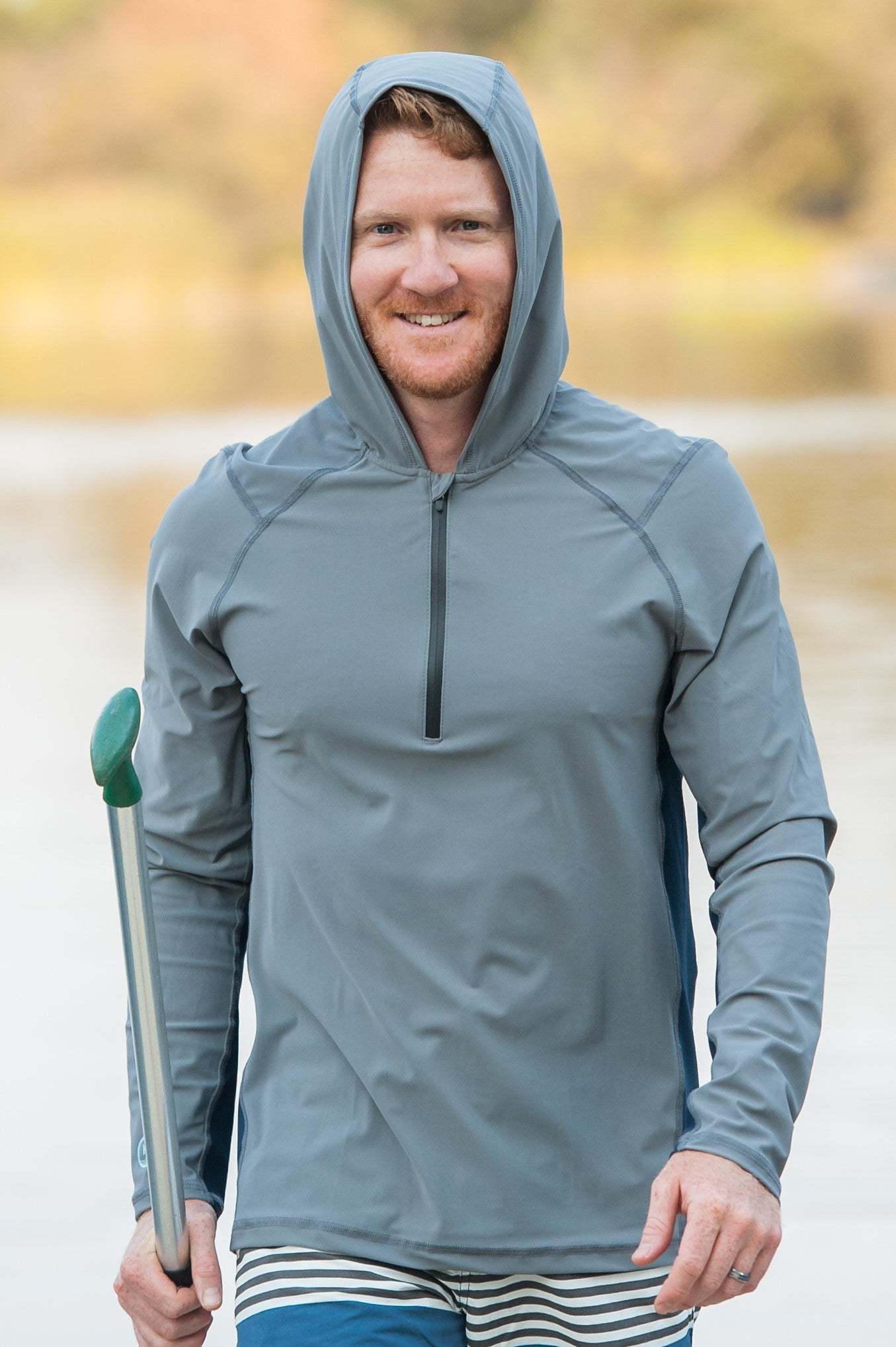 Moon Rock with Deep Sea Panel - Mens Swim Shirt / Rash Guard with a Hood