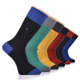 Hugh Ugoli 6 Pairs Men's Dress Socks Cotton seamless Toe Fancy Design Colorful Crew Men's Socks, 6 Pairs, Shoe Size: 7-12