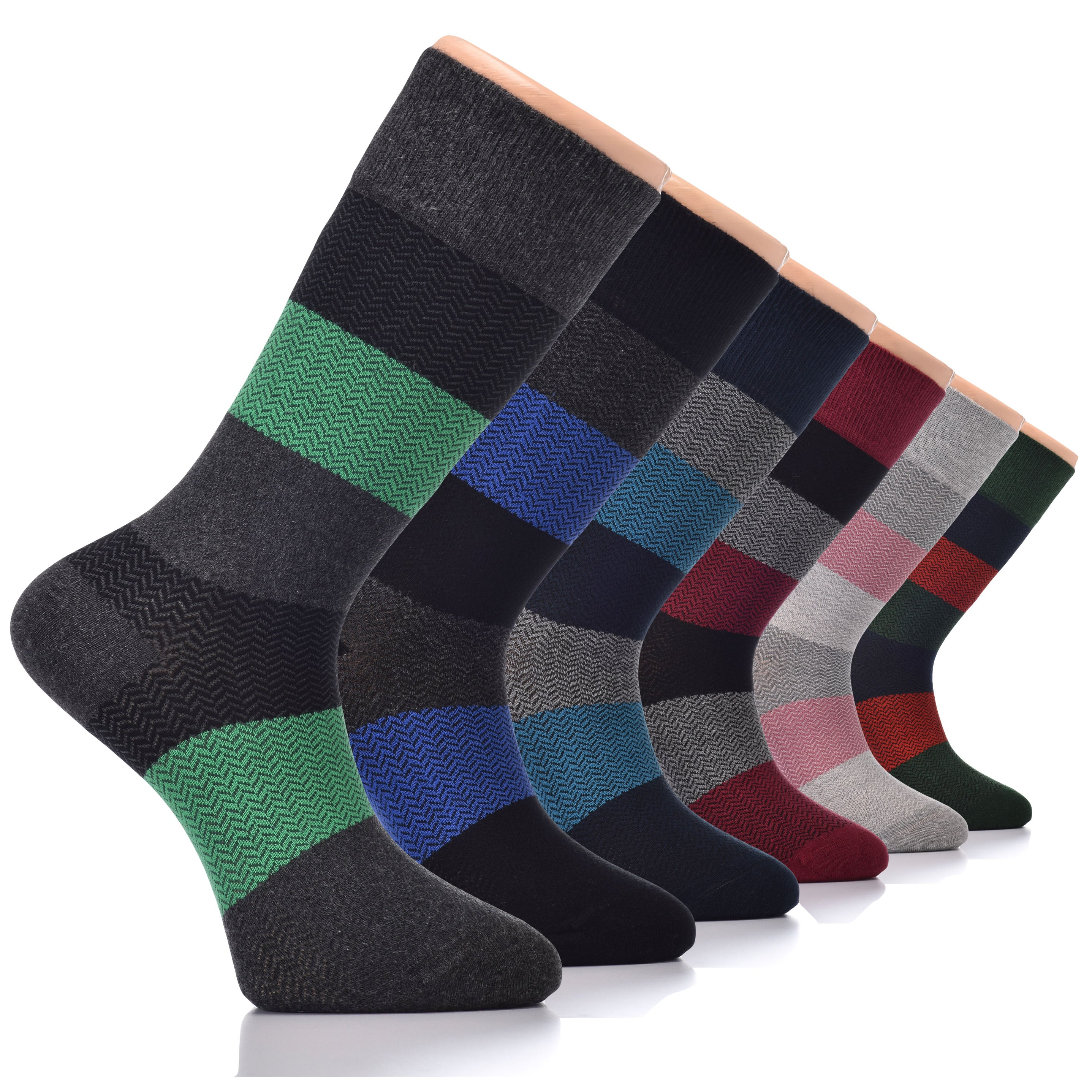 Hugh Ugoli Men's Dress Socks Bamboo Seamless Toe Soft Funky Business Thin Crew Socks, Shoe Size: 7-12