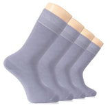 Hugh Ugoli Men's Bamboo Dress Socks Seamless Toe Business Crew Men Thin Socks, 4 Pairs, Shoe Size: 8-12