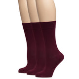 Hugh Ugoli Women's Bamboo Dress Socks Crew Soft Comfy Seamless Toe, 3 Pairs, Shoe Size: 5-8/9-11