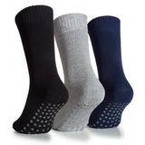 Hugh Ugoli Women's Bamboo Non Slip Grip Diabetic Socks Thin Non Skid Hospital Socks With Seamless Toe, 3 Pairs