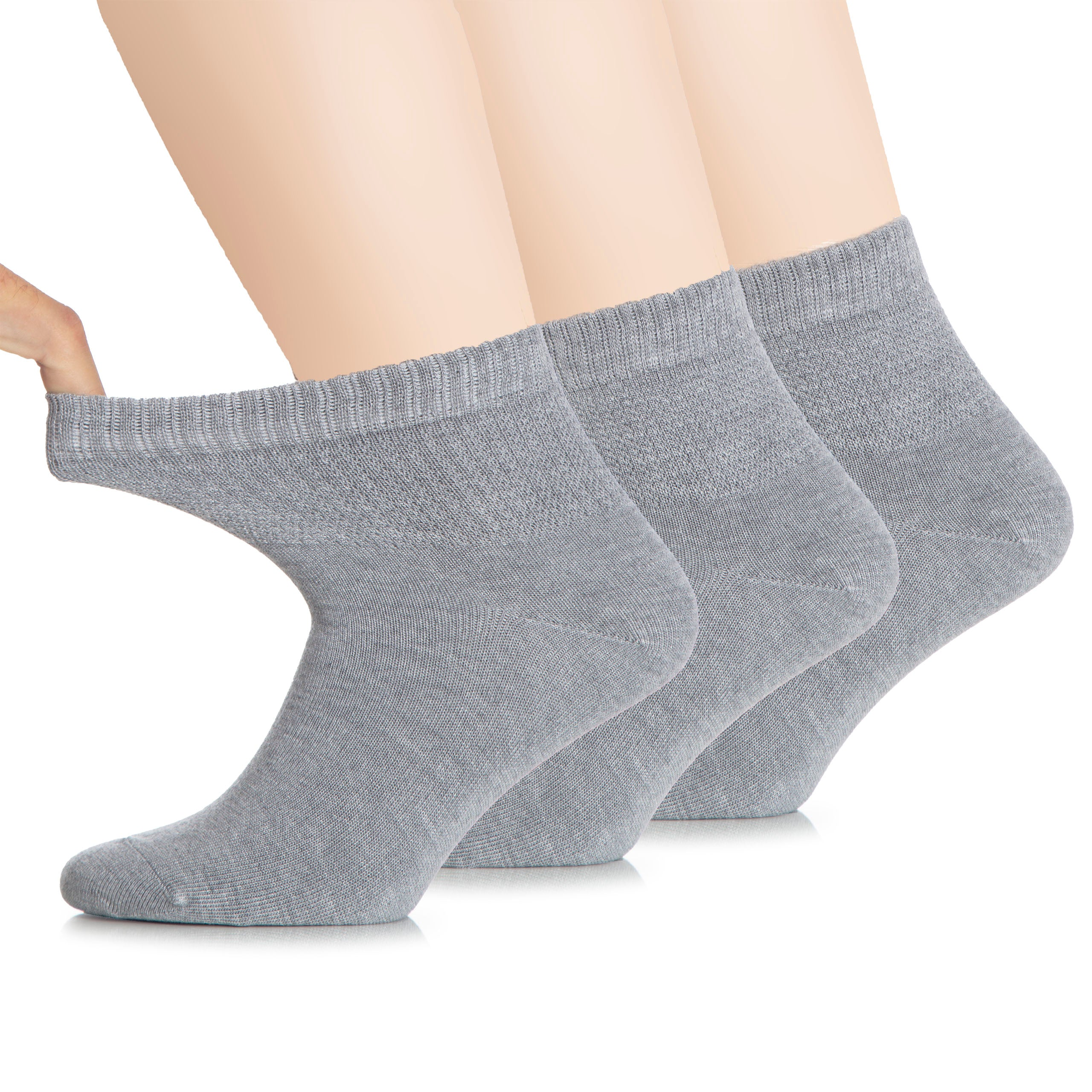 Hugh Ugoli Women's Bamboo Ankle Socks Soft Warm For Swollen Legs Seamless Toe and Non-Binding Top, 3 Pairs