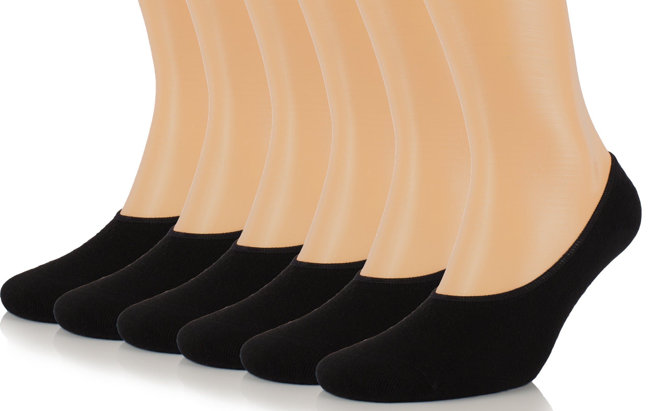 Hugh Ugoli Men's Bamboo No Show Liner Socks Seamless Toe Low Cut Non Slip Socks - 6 Pairs, Shoe Size: 7-12