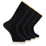Hugh Ugoli Men's Cotton Dress Socks Seamless Toe Business Crew Men Thin Socks, 4 Pairs, Shoe Size: 8-12