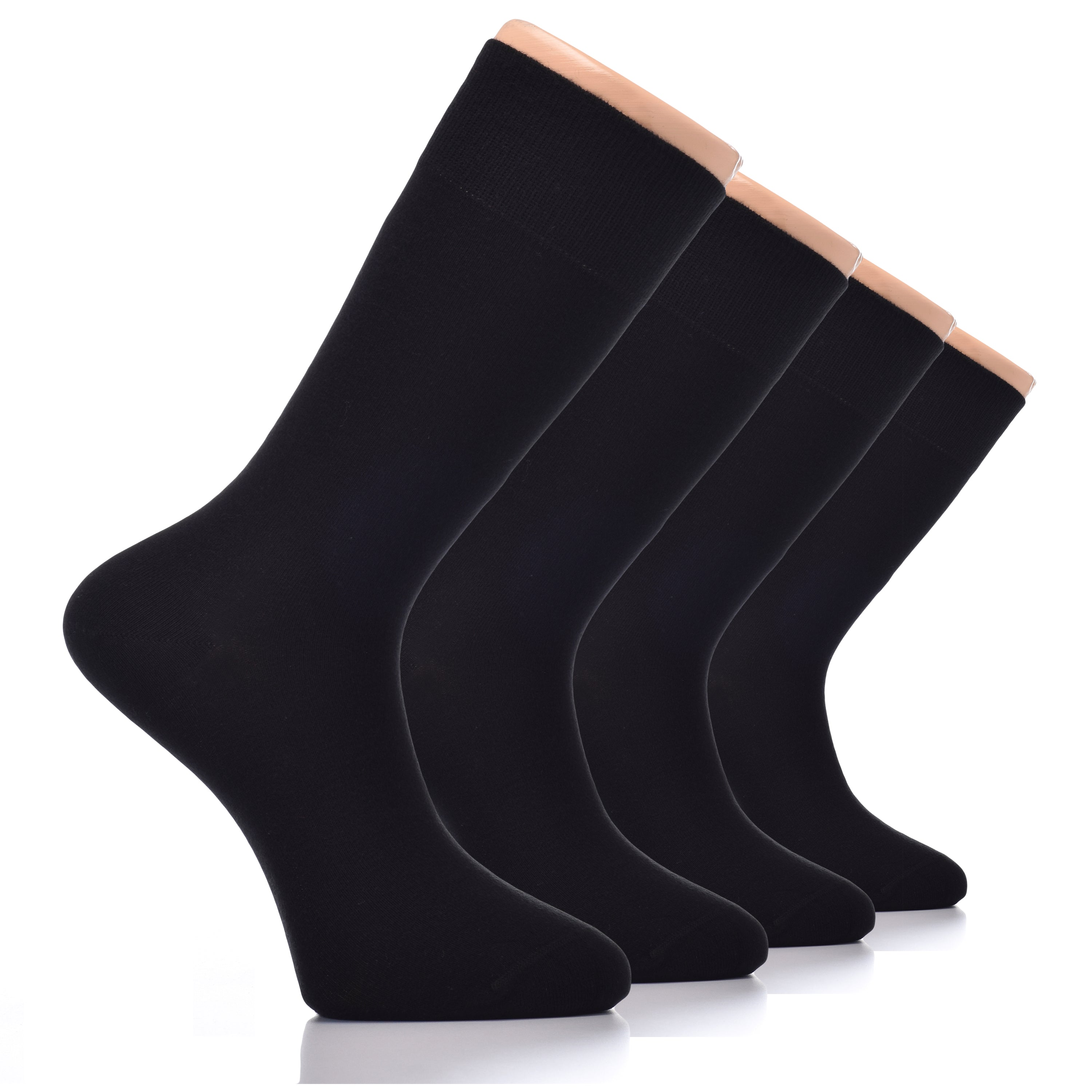 Hugh Ugoli Mens Crew Socks Large Cotton Dress Socks Big, 4 Pairs, Shoe Size: 10-14