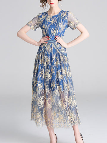 Waist lace embroidered long skirt temperament super fairy dress