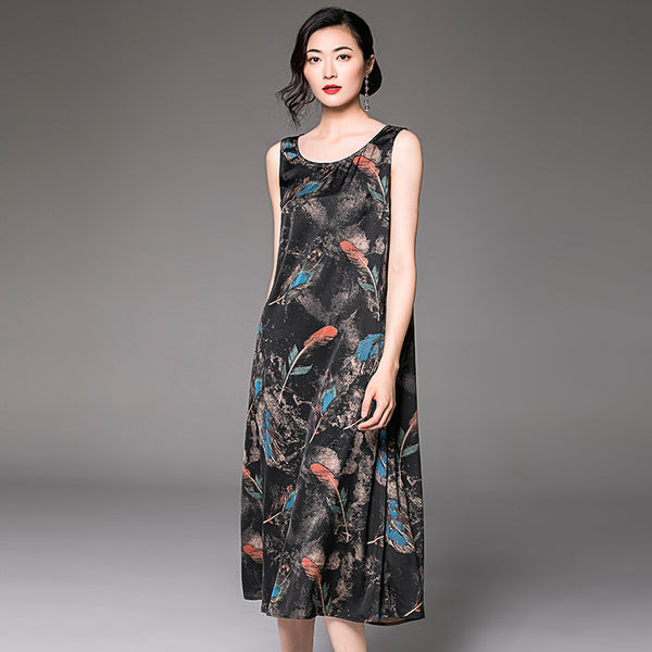 Sleeveless chiffon print loose anti-silk vest dress