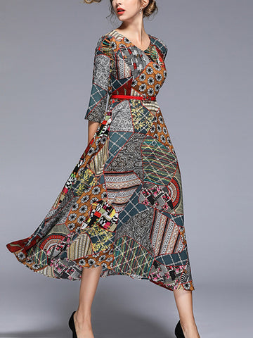 Slim-fit printed dress three-point sleeves big bottom skirt