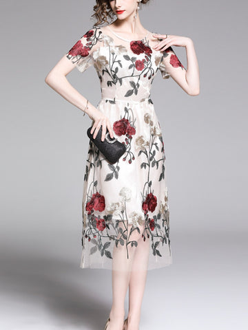 New gauze dress heavy embroidery flower long skirt