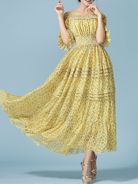 Off Shoulder Yellow Swing Ruffled Shirred Tiered Midi Dress