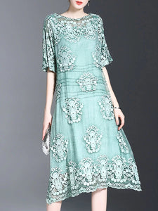 Boat Neck Chiffon Embroidered Midi Dress