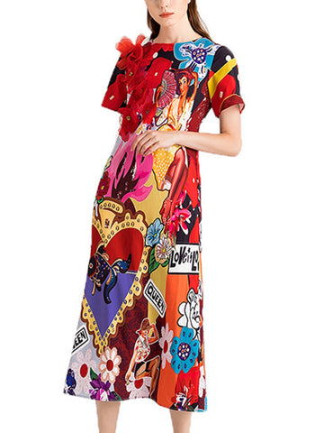 Handmade three-dimensional flower cartoon high waist large dress