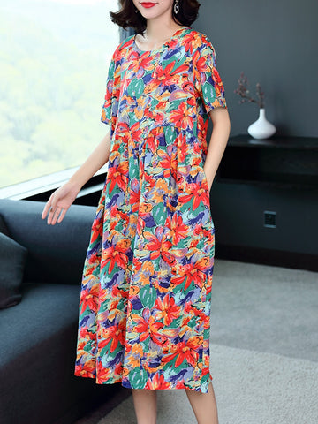 Casual printed cotton linen a-line skirt short-sleeved dress loose dress