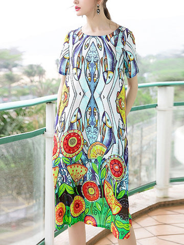 Elegant short-sleeved silk loose dress with round neck print