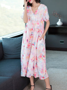 New loose retro v-neck ramie print dress