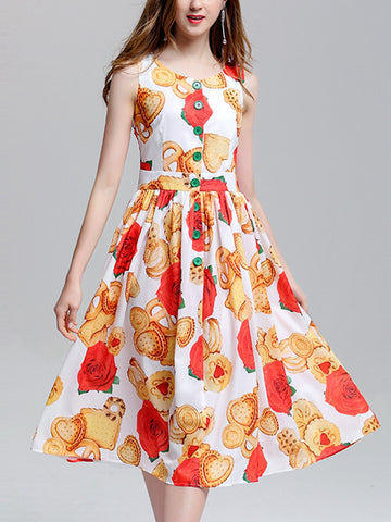 Biscuits rose print sleeveless neck buckle high waist sleeve dress
