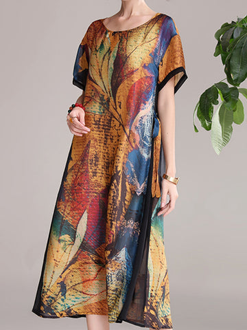 Round neck retro print dress loose a-line skirt