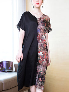 Round neck v-neck stitching print loose ramie dress