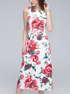Sweet flower print high waist slimming micro-elastic dress