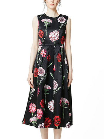 Black satin flower print round neck sleeveless high waist dress