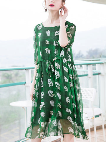 Loose crew neck waist cropped sleeves printed chiffon dress
