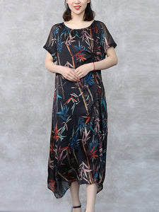 Colorful leaf print classic round neck short sleeve loose dress