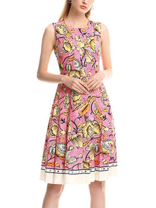 Vintage print round neck pleated high waist dress