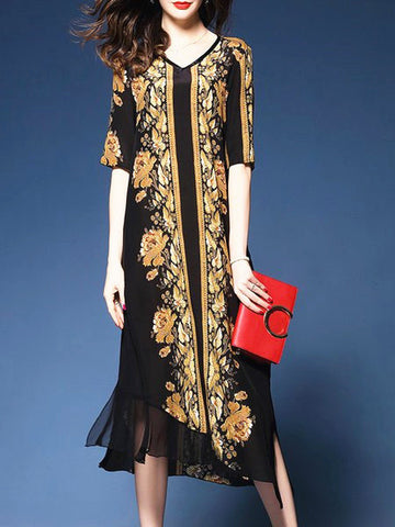 V neck black swing statement floral midi dress