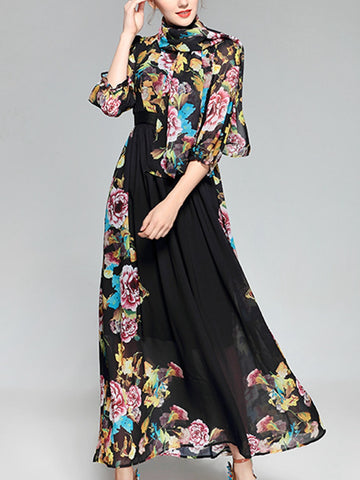 Sweet print cropped sleeve bohemian swing scarf dress