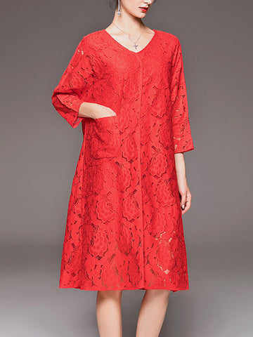Temperament three-point sleeve loose hook flower openwork lace dress