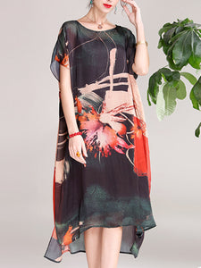Printed pattern short-sleeved dress and two-piece dress with straps